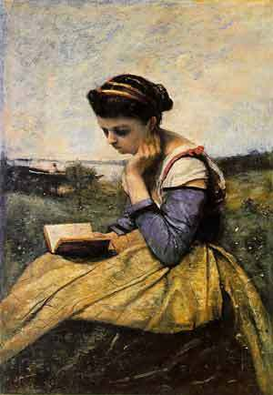 Woman Reading in a Landscape, 1869, Jean Baptiste Camille Corot